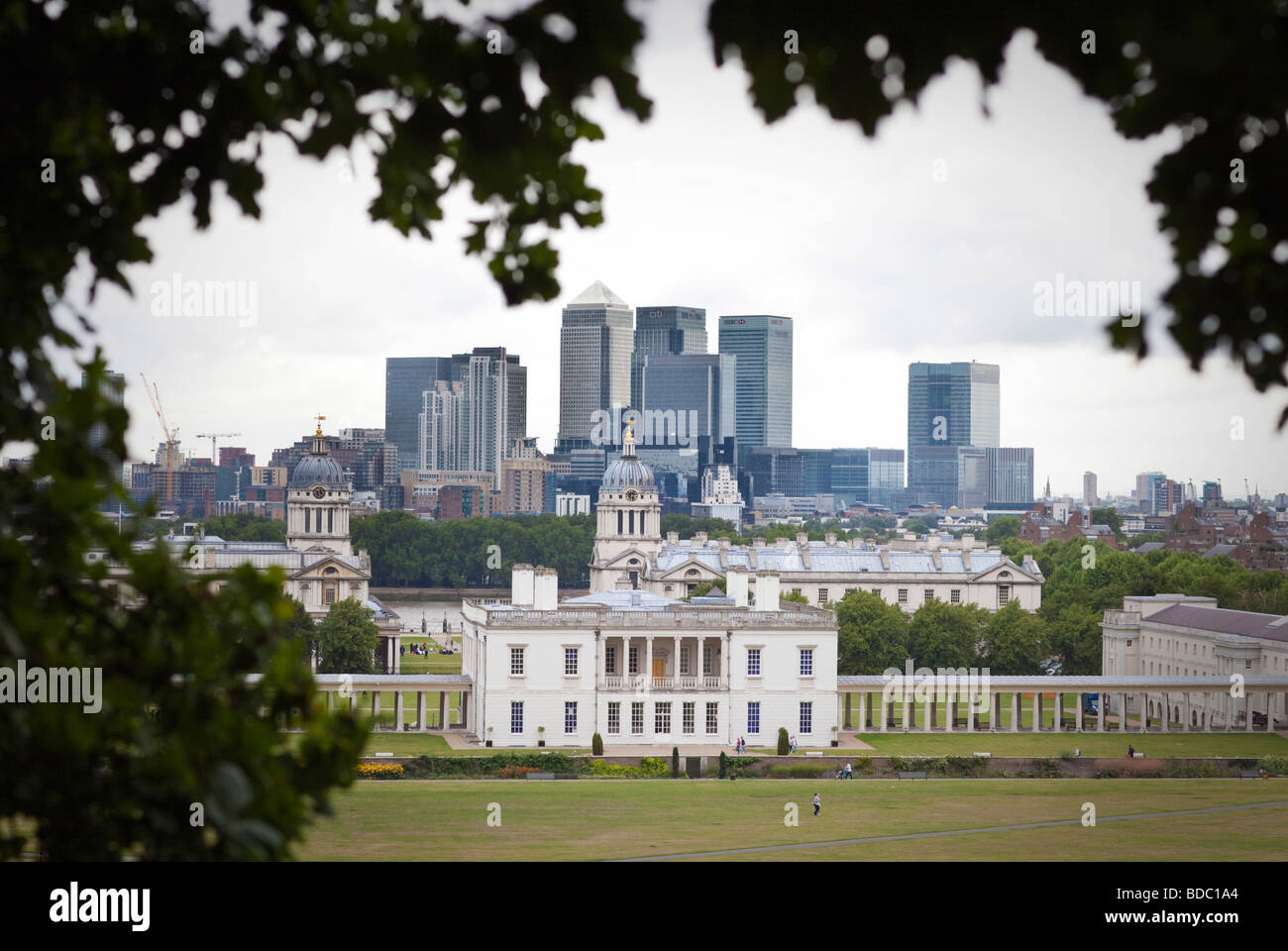 Canary wharf and Old Royal Naval College London London - Stock Image