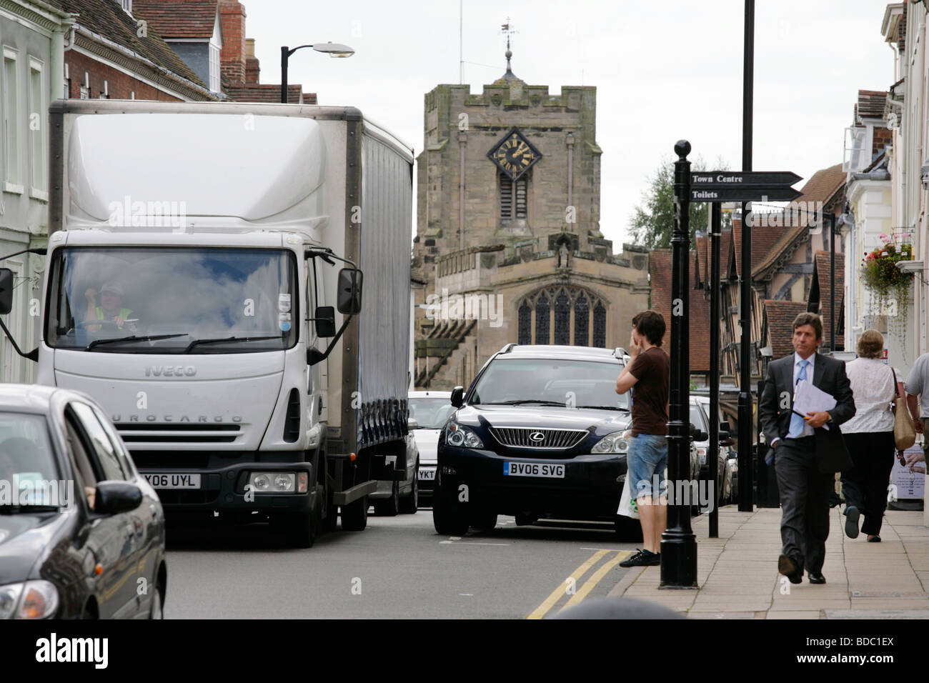 Traffic congestion in High Street, Warwick, UK - Stock Image