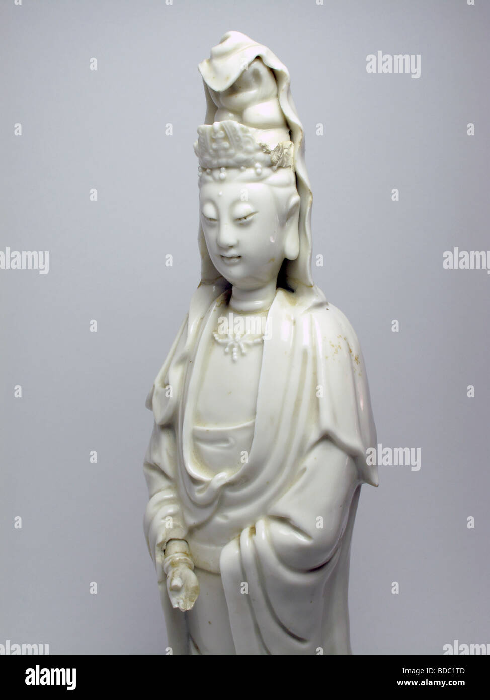 Antique Chines bland de chine porcelain figure of Guanyin. - Stock Image