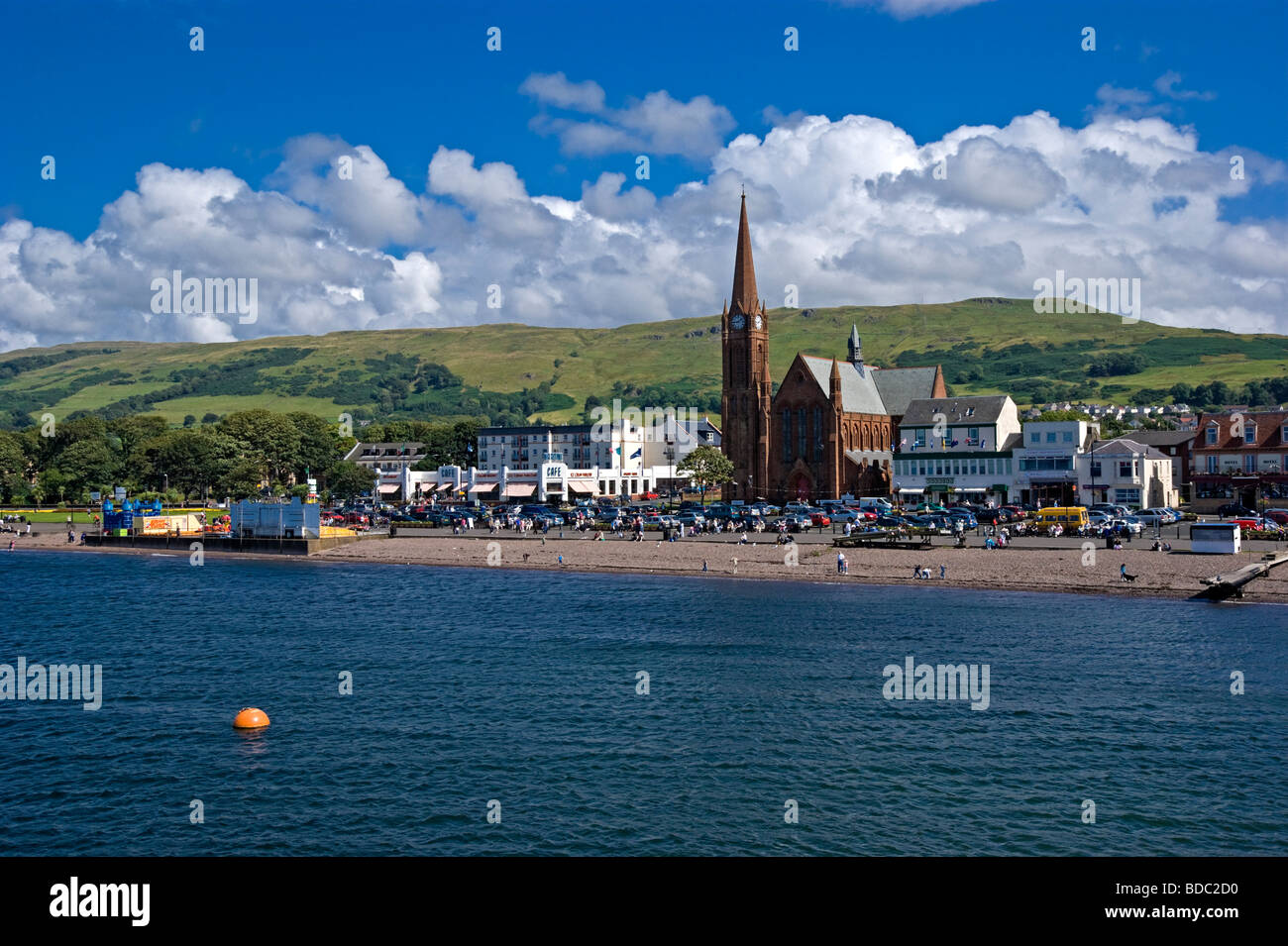 Sea front view of Largs in Ayrshire western Scotland - Stock Image