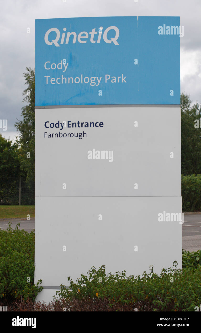 Entrance sign for the Qinetiq facility at Cody Technology Park, Farnborough, Hampshire, UK. - Stock Image