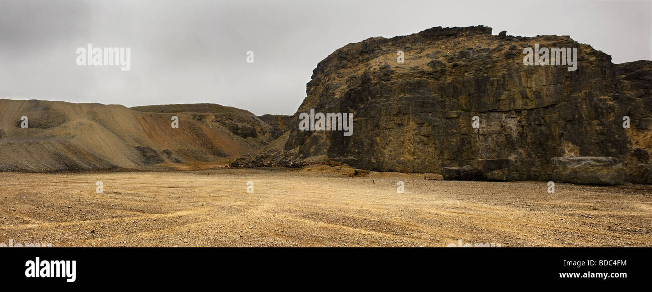 A panoramic view of an abandoned quarry in Wales. - Stock Image
