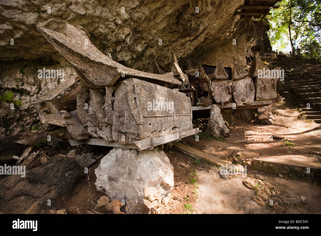 Indonesia Sulawesi Tana Toraja Kete Kesu ancient carved wooden coffin rotting in village burial ground - Stock Image