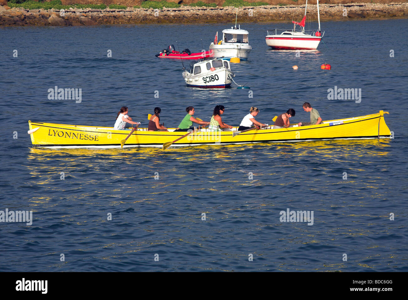 Pilot gig racing is the main sport on the Isles of Scilly. - Stock Image