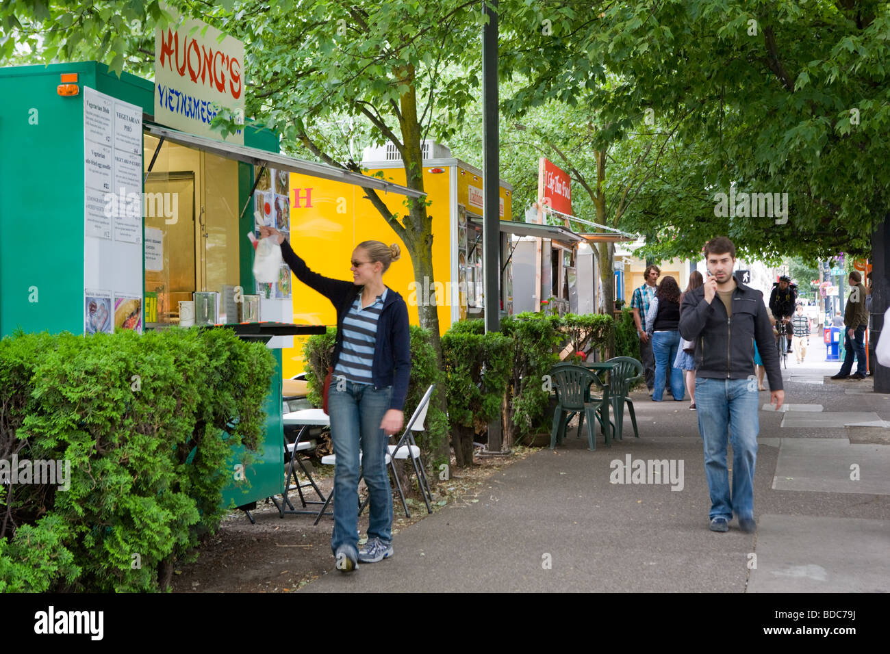 Portland Oregon is reknowned for its many food carts - Stock Image