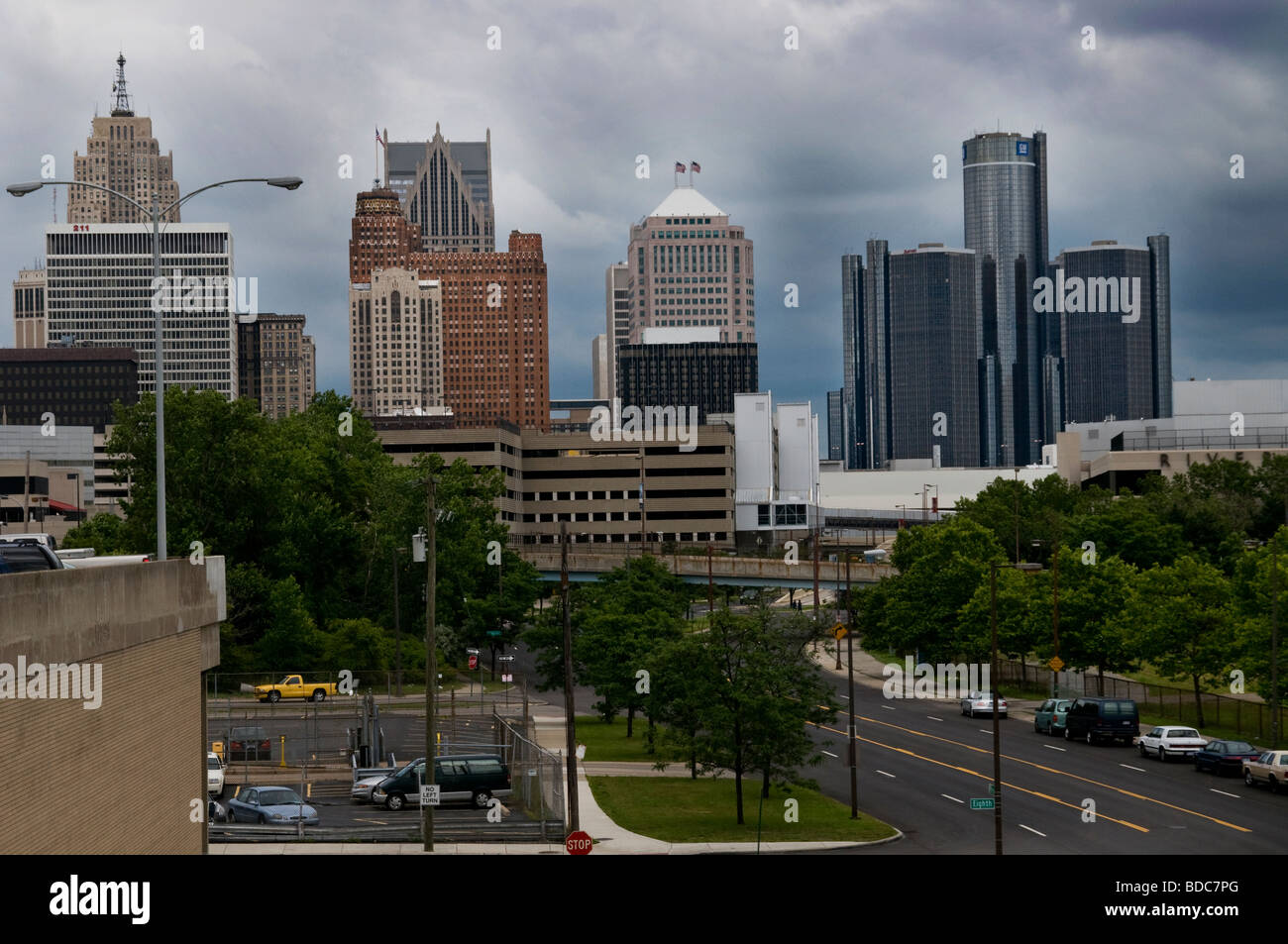 Overview of Detroit, MI, Downtown with GM Renaissance, Center - Stock Image