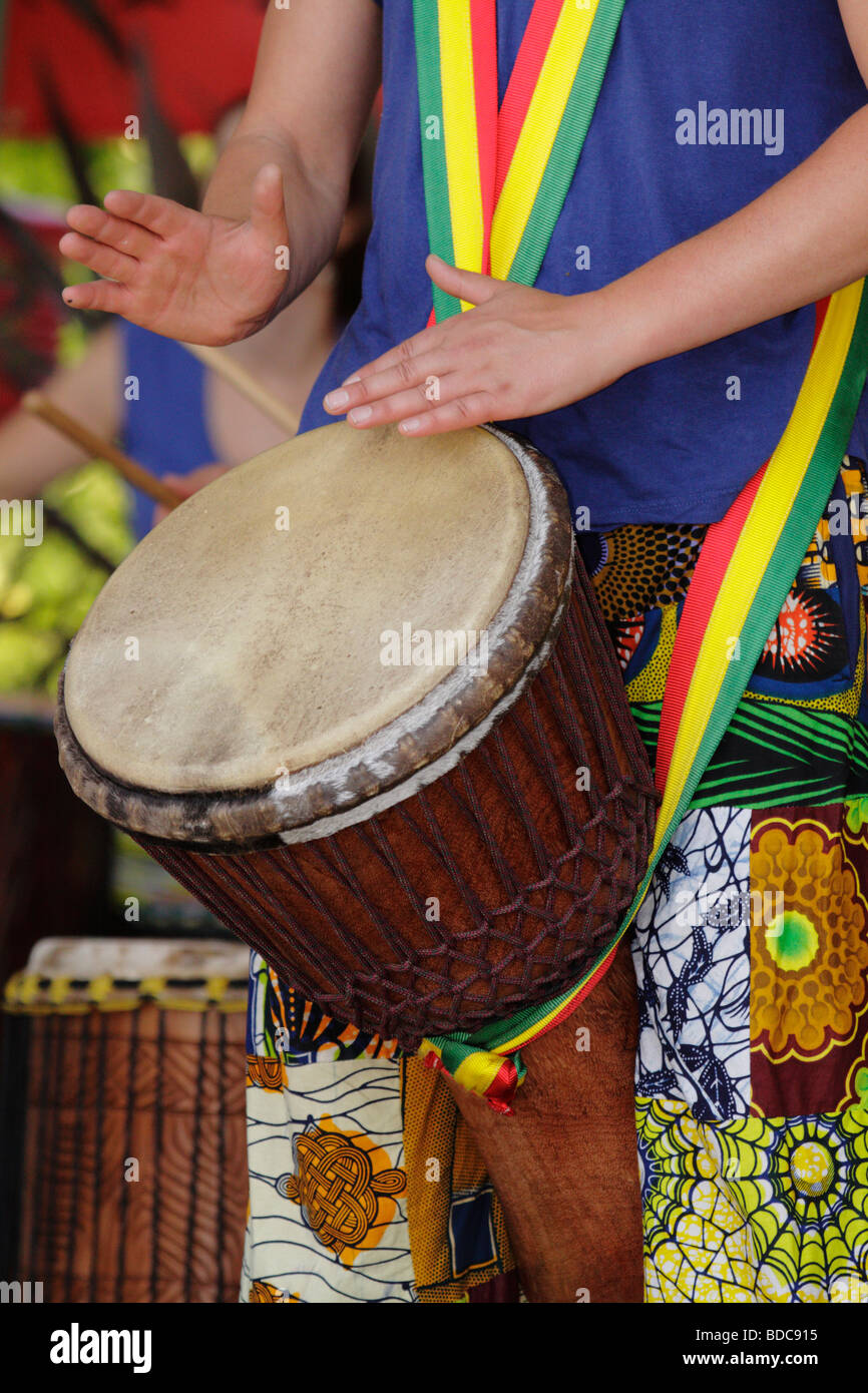 Keyke Fare West African dance and drum performer at Dragon Boat festival Victoria British Columbia Canada - Stock Image