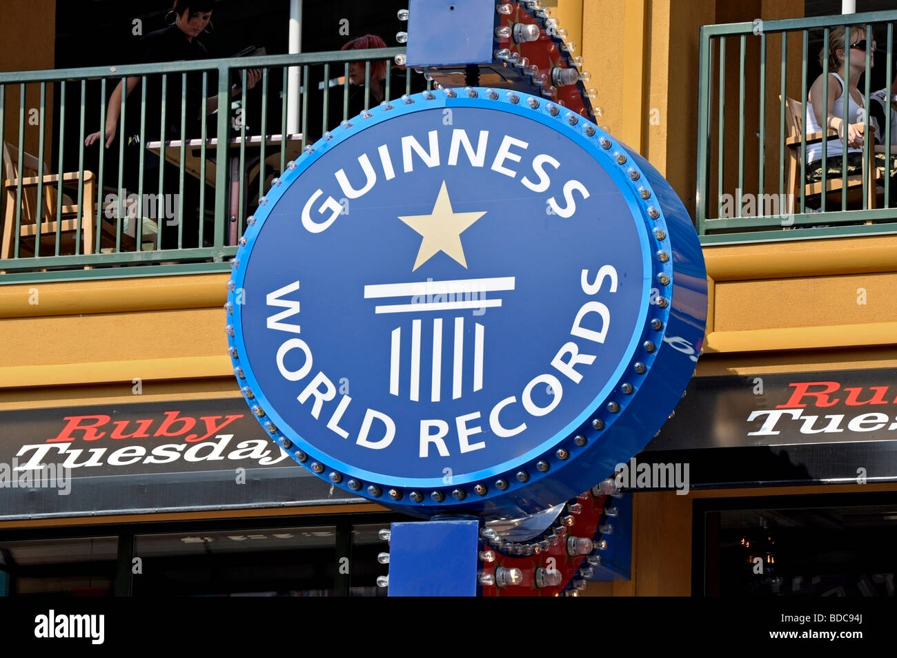 Guinness World Records Sign - Attractions on Clifton Hill, Niagara, Ontario - Stock Image