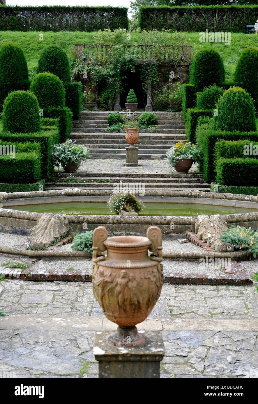 Mapperton Gardens, and Jacobean manor house in Beaminster, Dorset, UK. Landscaped gardens. - Stock Image