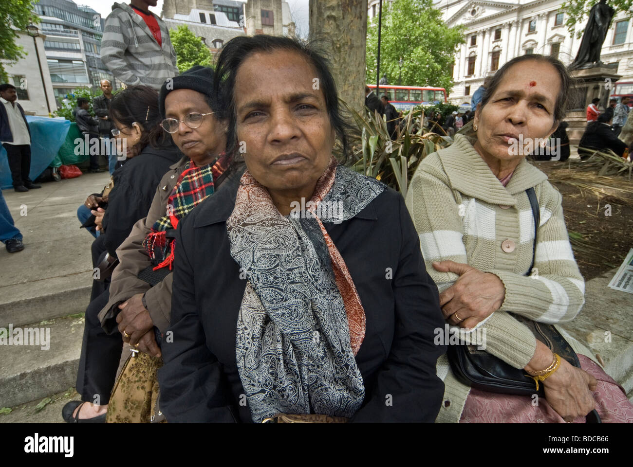 THREE TAMIL REFUGEE WOMAN/LONDON - Stock Image