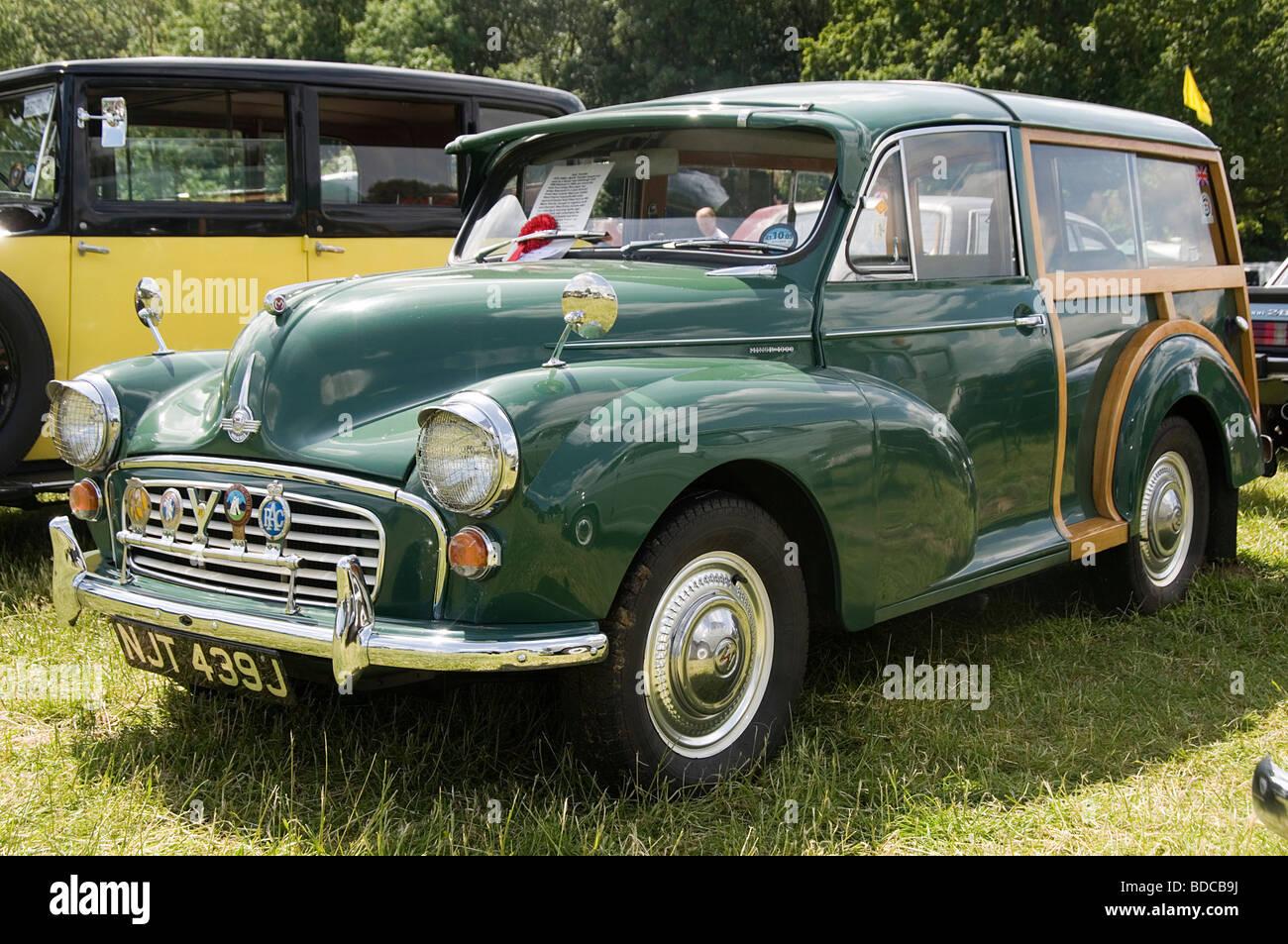 morris minor traveler wood woody classic car cars 1000 estate car wooden model - Stock Image