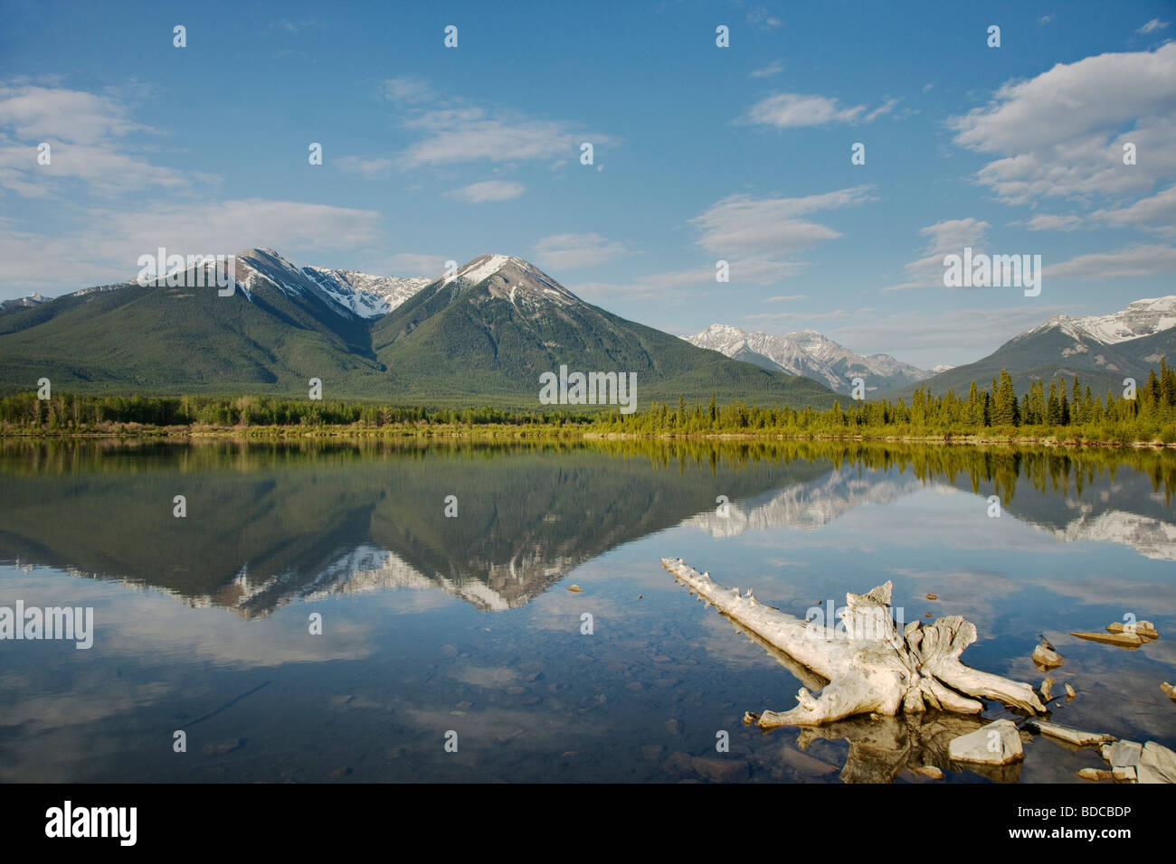 Part of HDR LA004153 Mountains reflected in Vermillion Lakes Banff National Park Alberta Canada LA004150 Stock Photo