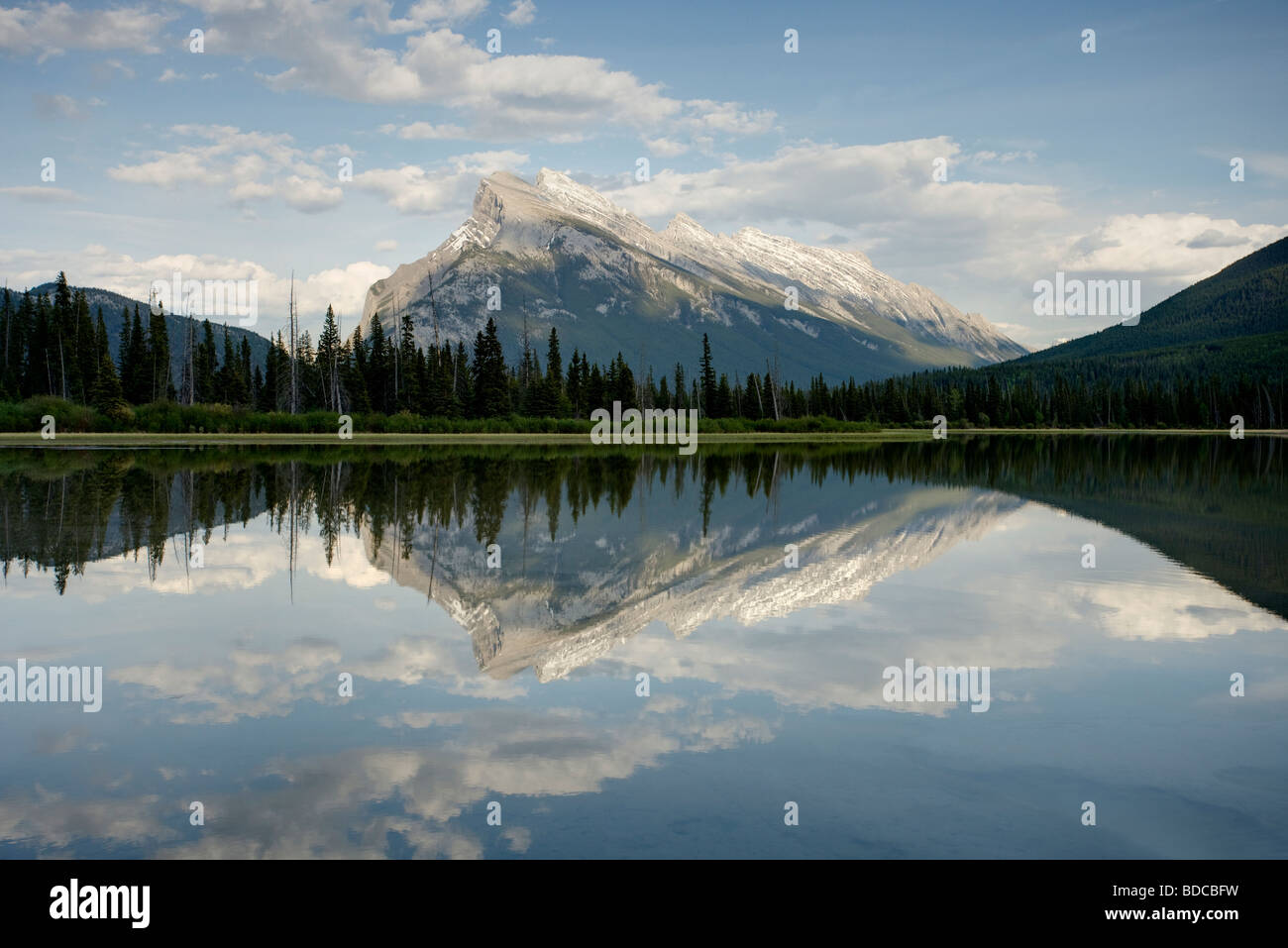 Part of HDR LA004145 Mount Rundle reflected in Vermillion Lakes Banff National Park Alberta Canada LA004141 Stock Photo