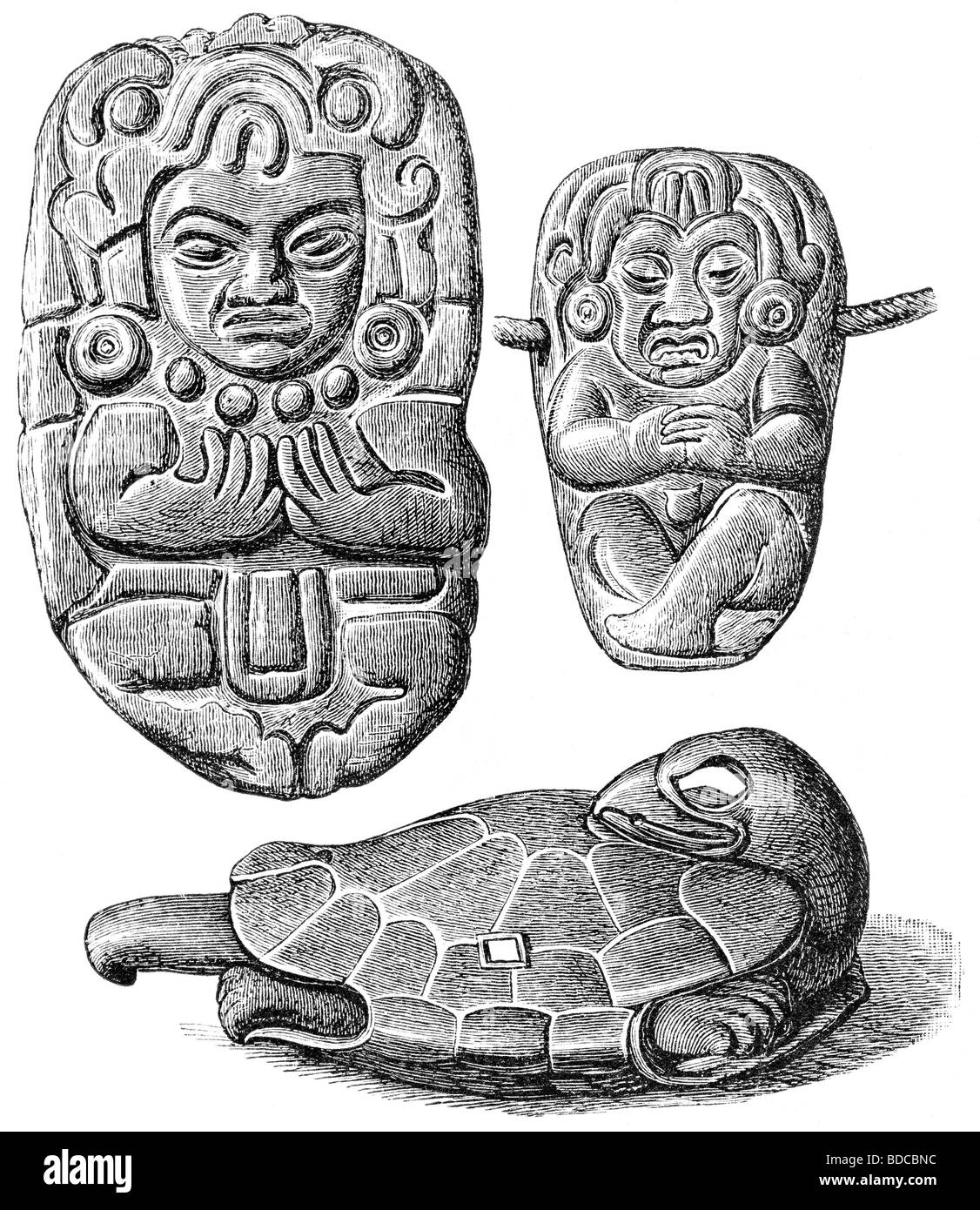 archaeology / archeology, Mexico, Aztecs, old Mexican stone sculptures, wood engraving, historic, historical, Central - Stock Image