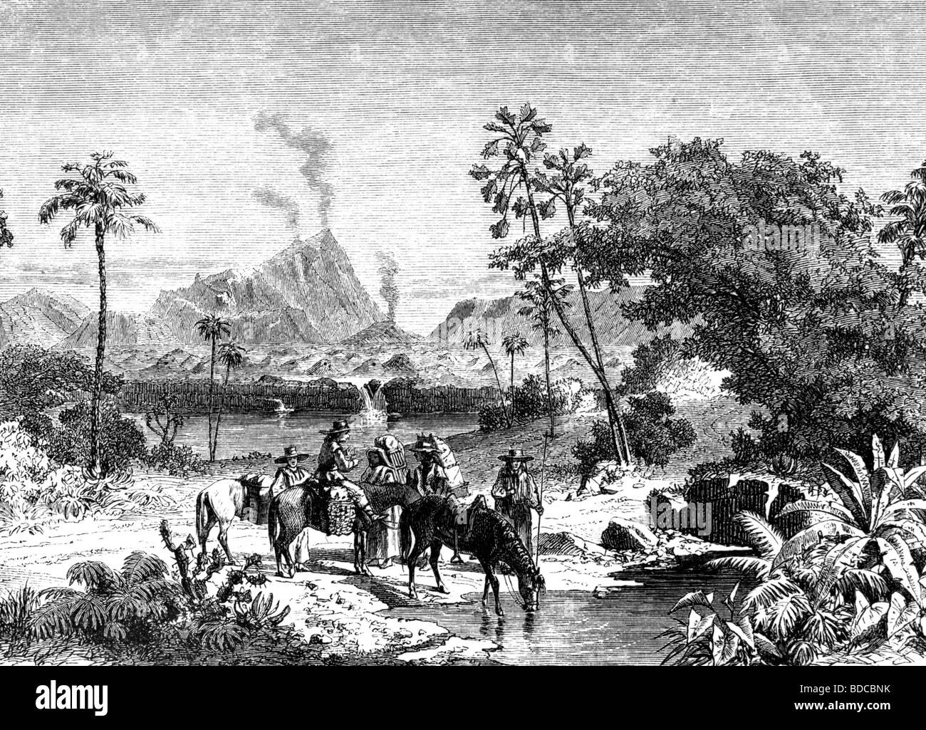 geography / travel, Mexico, landscapes, landscape with volcano Jorullo, wood engraving, 19th century, historic, Stock Photo