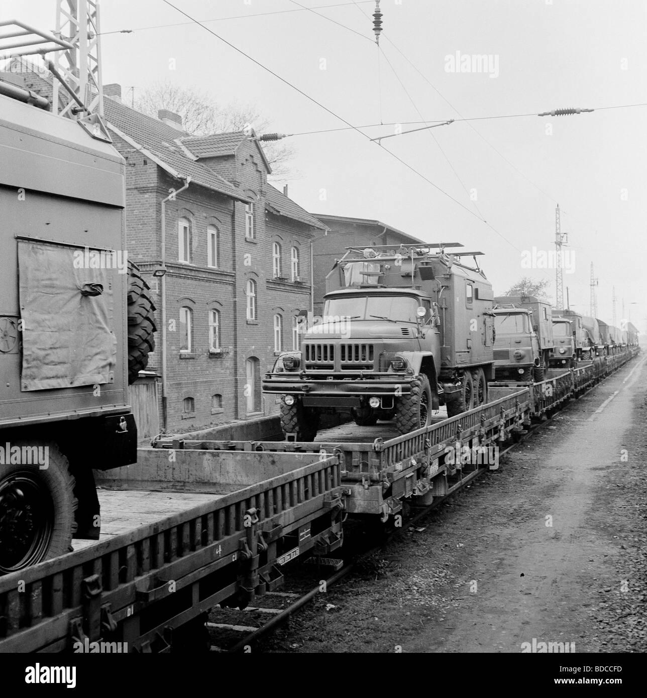 geography / travel, Germany, GDR, NVA fleet of vehicles transported by train, near Wolgast, July 1990, Additional Stock Photo