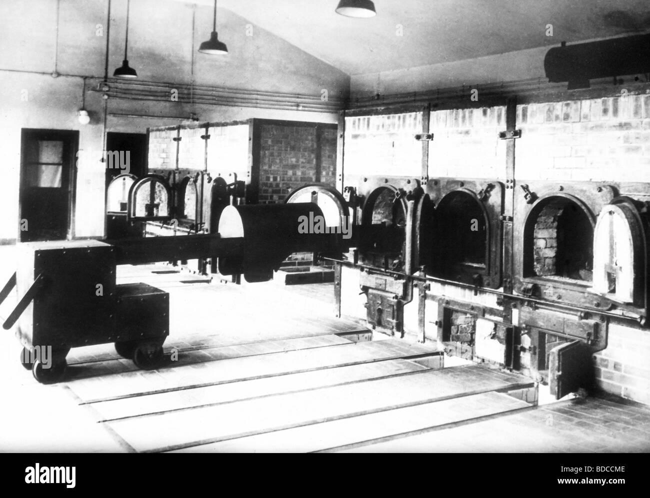 events, National Socialism, crimes, Auschwitz-Birkenau  Concentration Camp, crematory, interior view, ovens, Auschwitz, - Stock Image
