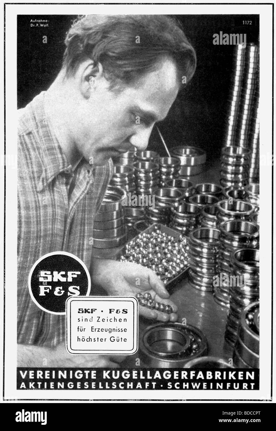 advertising, ball bearing, SKF and F&S, Vereinigte Kugellagerfabriken, Schweinfurt, advert, Germany, 1942, Additional - Stock Image