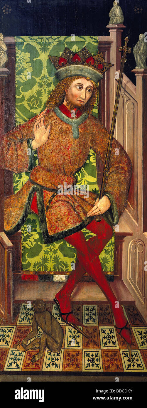 fine arts, Middle Ages, Germany, painting, king on a throne, altar wing, unknown artist, wood, 107.5 cm x 42.5 cm, - Stock Image