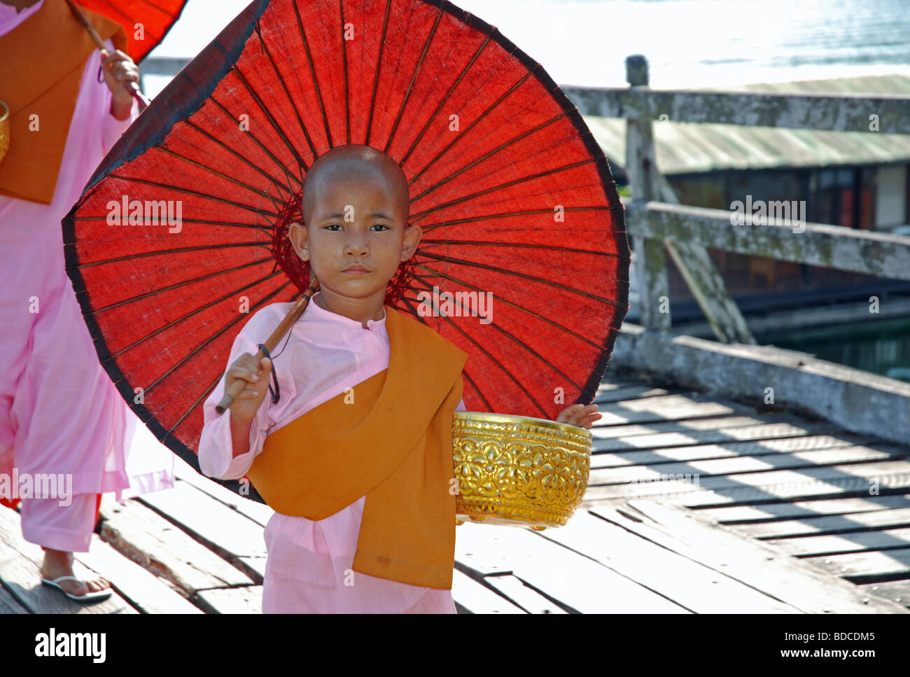 religion, Buddhism, Novices, girl, Sanglaburi, Thailand, Asia, , Additional-Rights-Clearance-Info-Not-Available - Stock Image