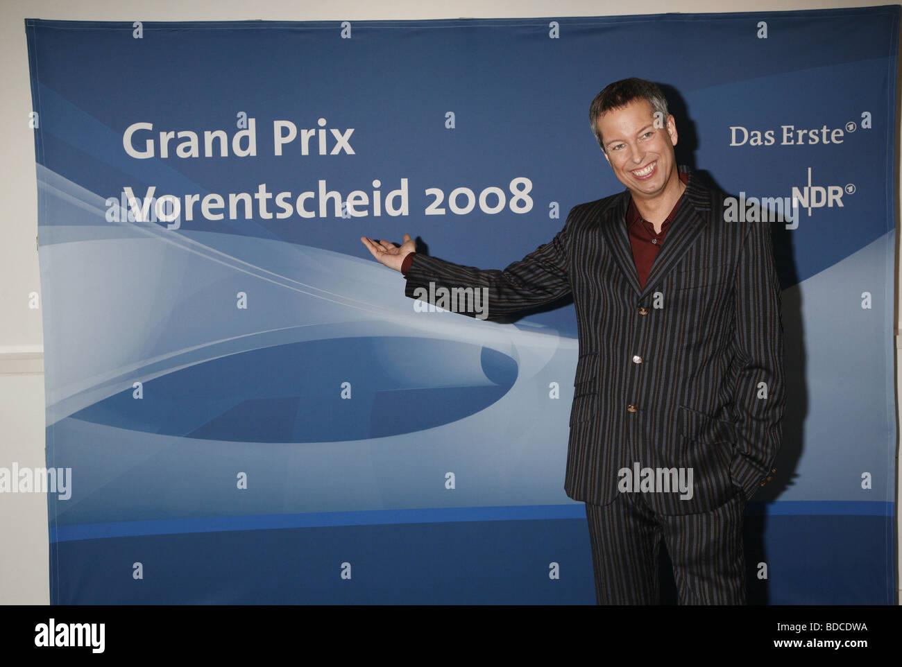 tv show 'Grand Prix preliminary decision 2008' DEU 2008, tv presenter Thomas Hermanns, Third-Party-Permissions - Stock Image