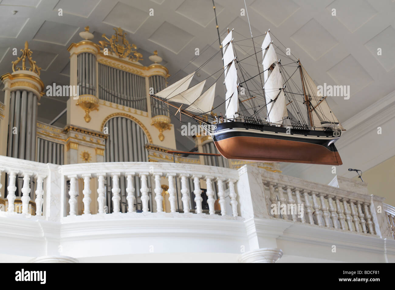 Interior view of Oulu cathedral Finland - Stock Image