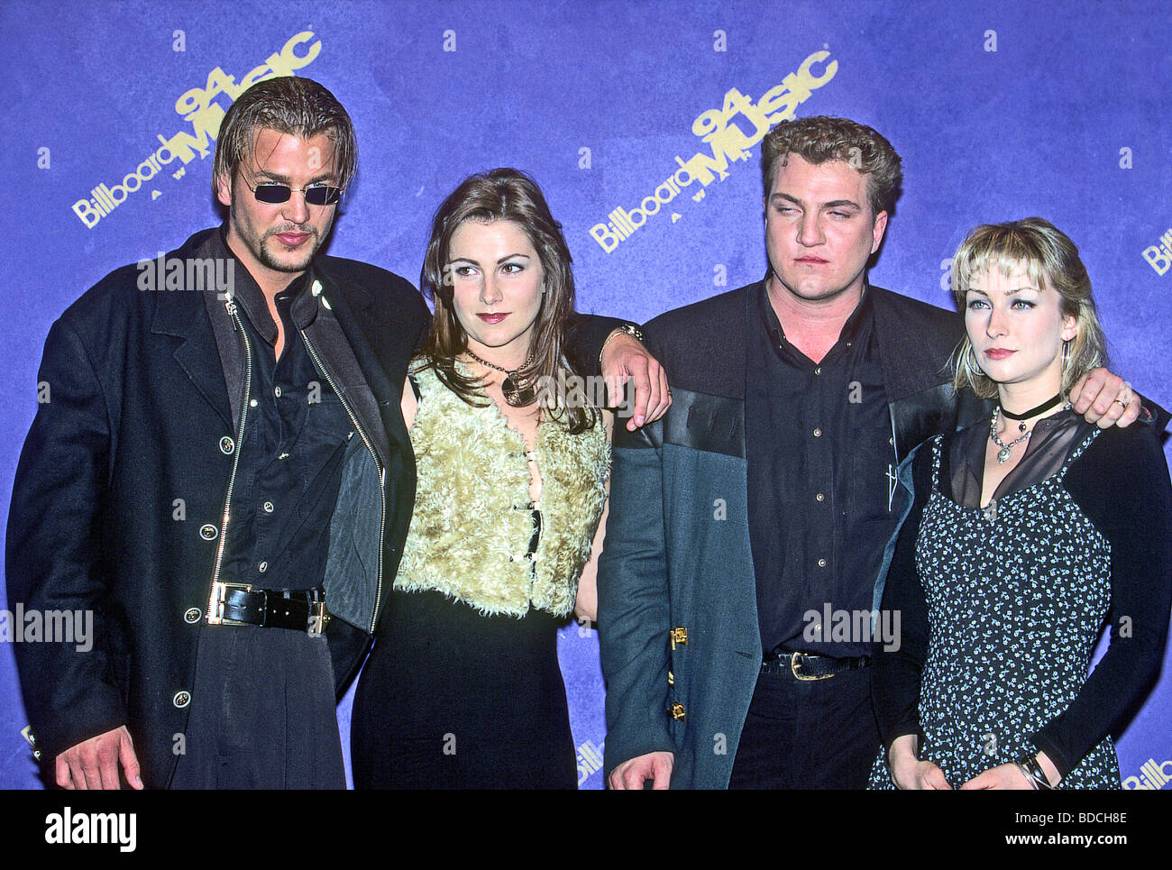 ACE OF BASE  -  Swedish pop-reggae group in 1994 from l: Ulf Ekberg, Jenny Berggren, Jonas Berggren and Linn Berggren - Stock Image