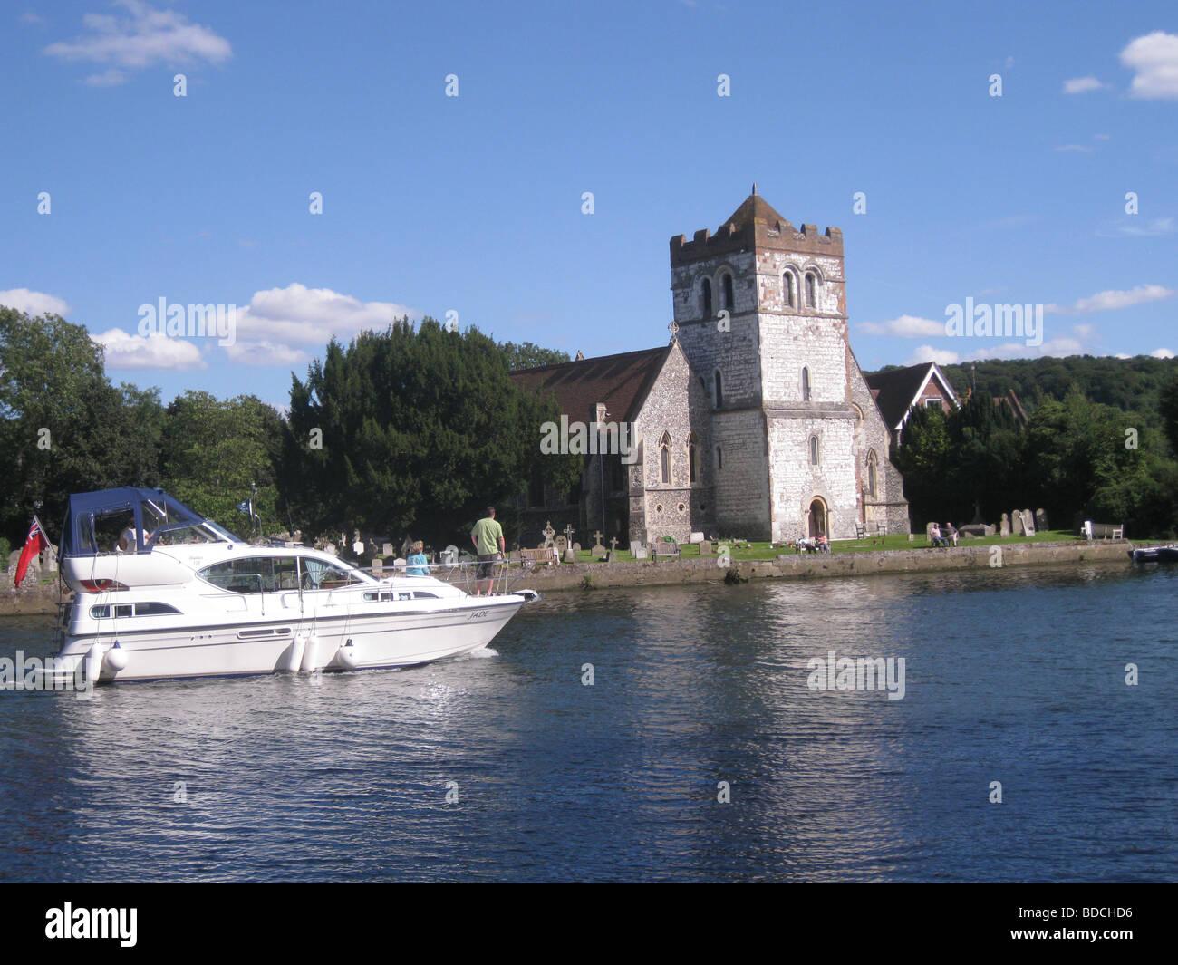 ALL SAINTS CHURCH, Bisham, beside the Thames near Henley-on-Thames, England - Stock Image