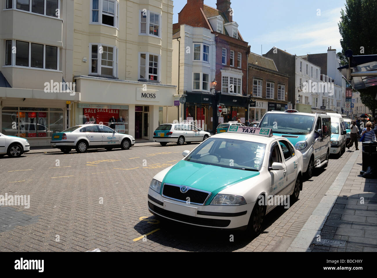 Taxis queuing for a fare in central Brighton - Stock Image