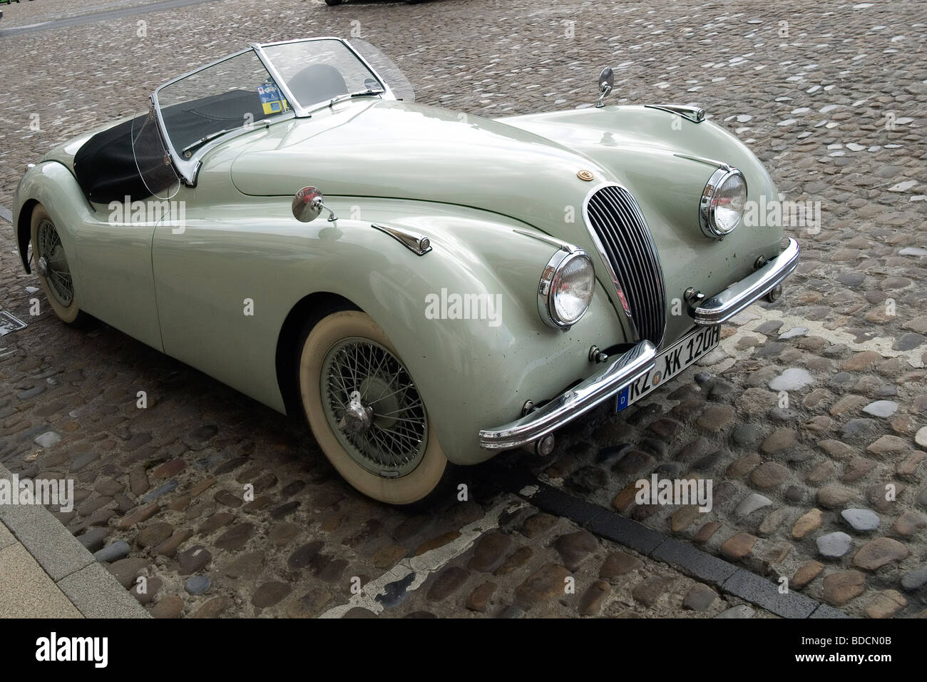 A Pale Green German Registered Jaguar XK120 Sports Car Parked In Richmond  North Yorkshire Summer 2009