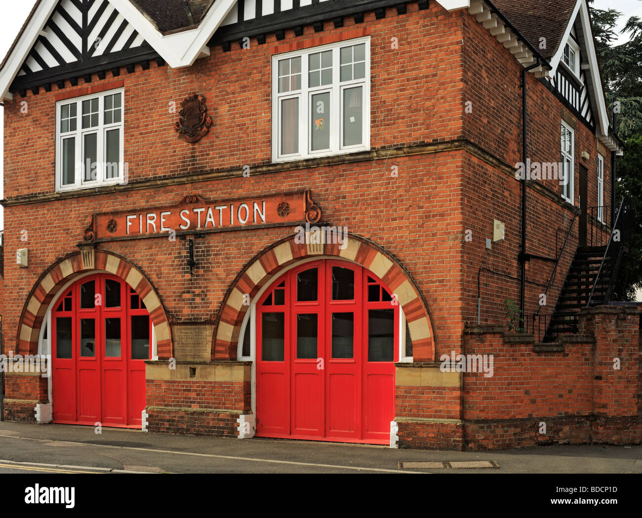 Fire Station entrance. - Stock Image