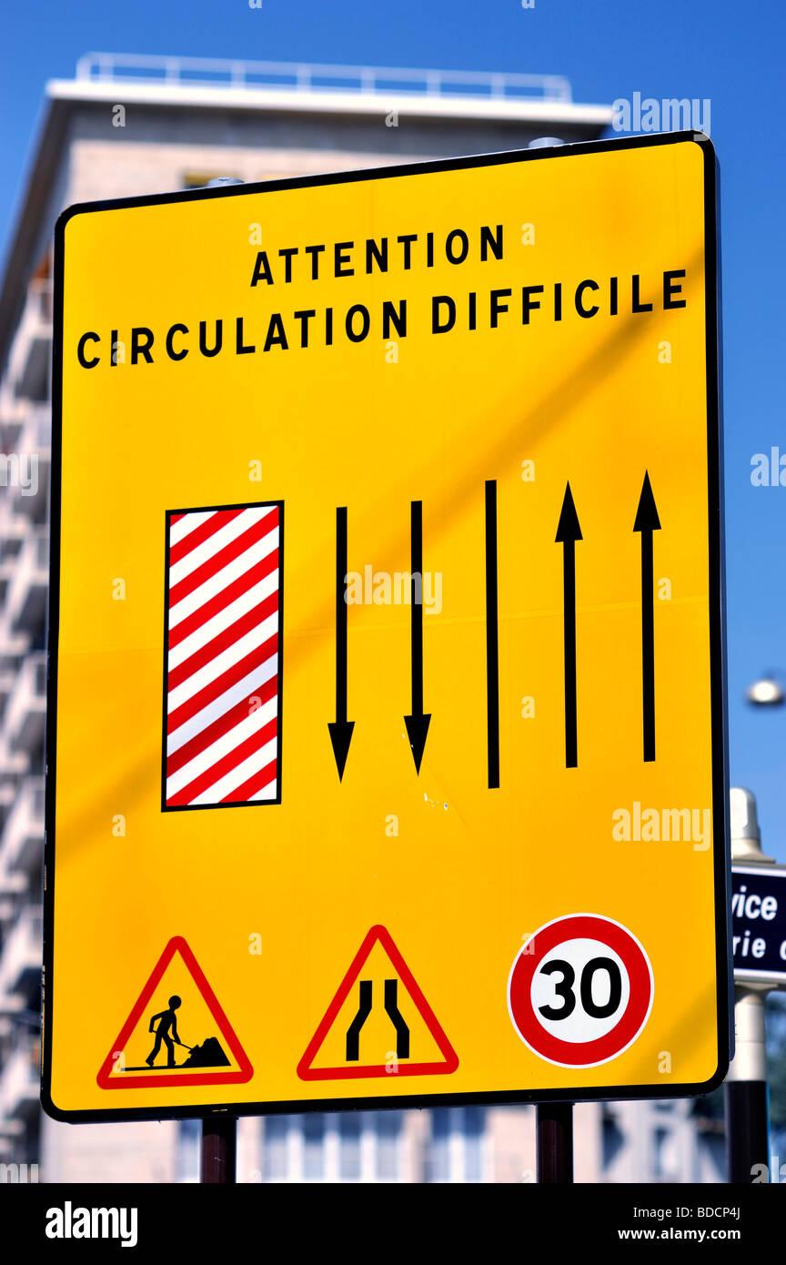 Paris, France, Street Scene, Detail, French Sign, Traffic