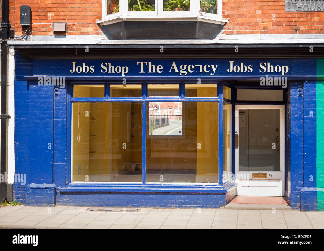 Empty closed Job Shop Employment Agency, England, UK - Stock Image