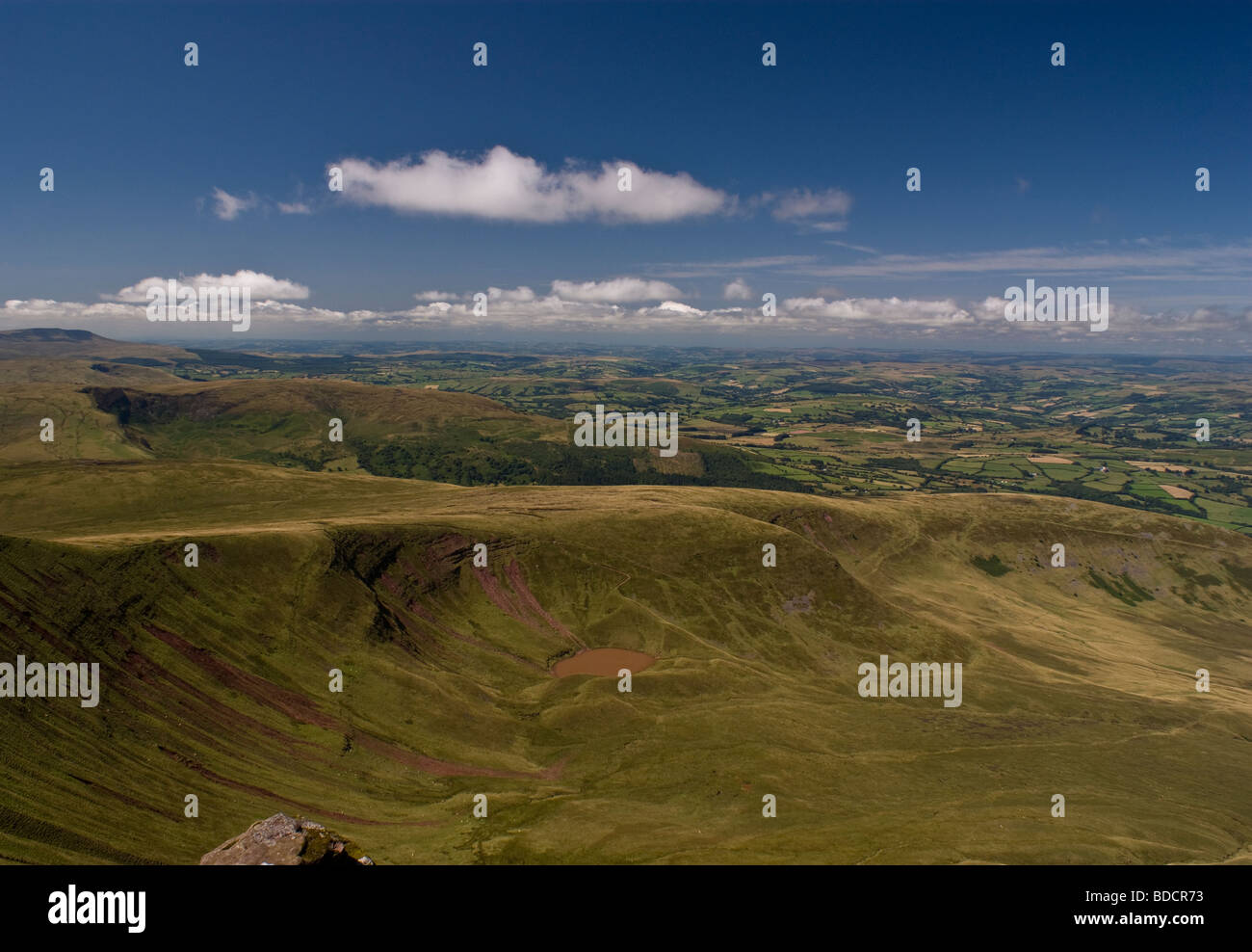 Llyn Cwm Llwch as viewed from Corn Du - Brecon Beacons National Park - South Wales. Stock Photo