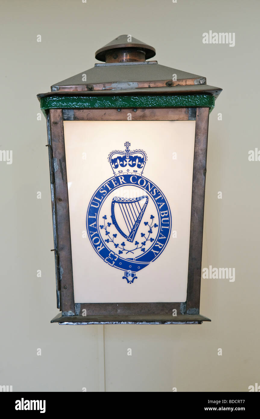Royal Ulster Constabulary lantern at the Ulster Folk and Transport Museum. - Stock Image