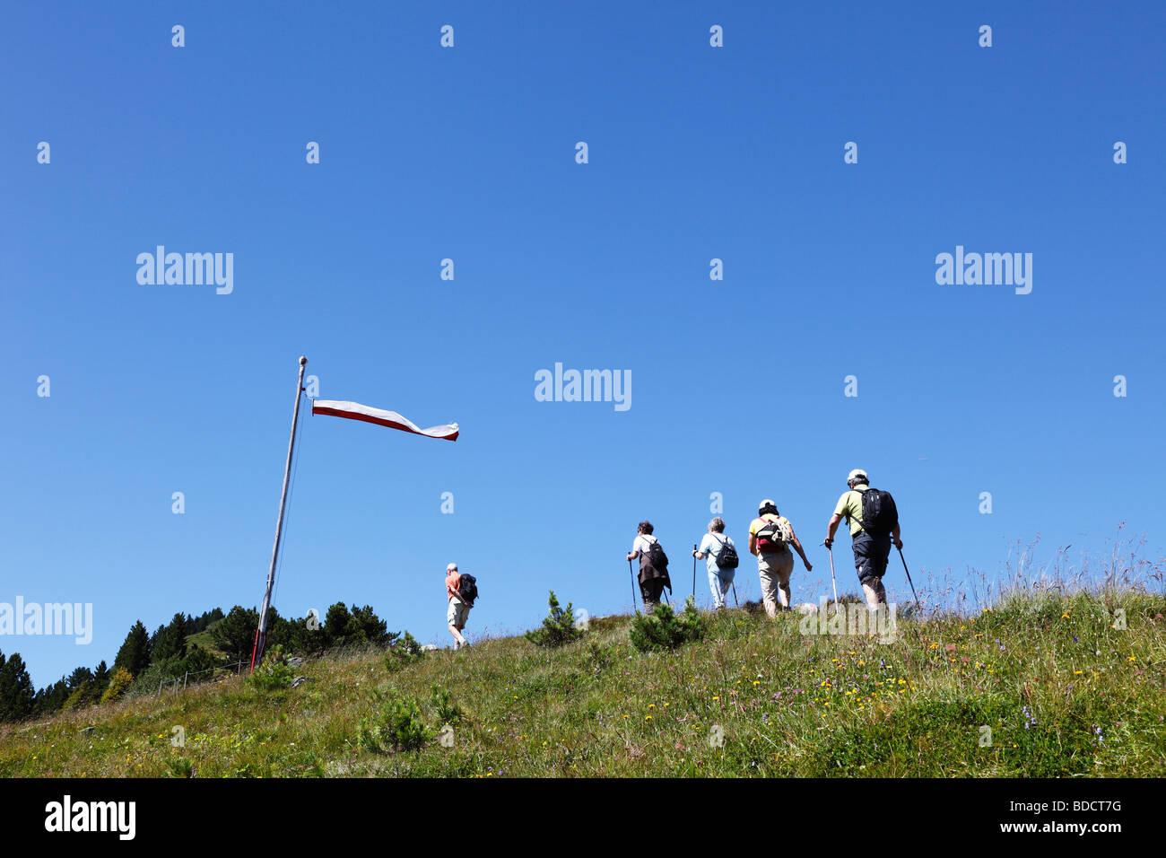 Hikers resting at Mt. Patscherkofel, Tux Alps, Tyrol, Austria, Europe Stock Photo