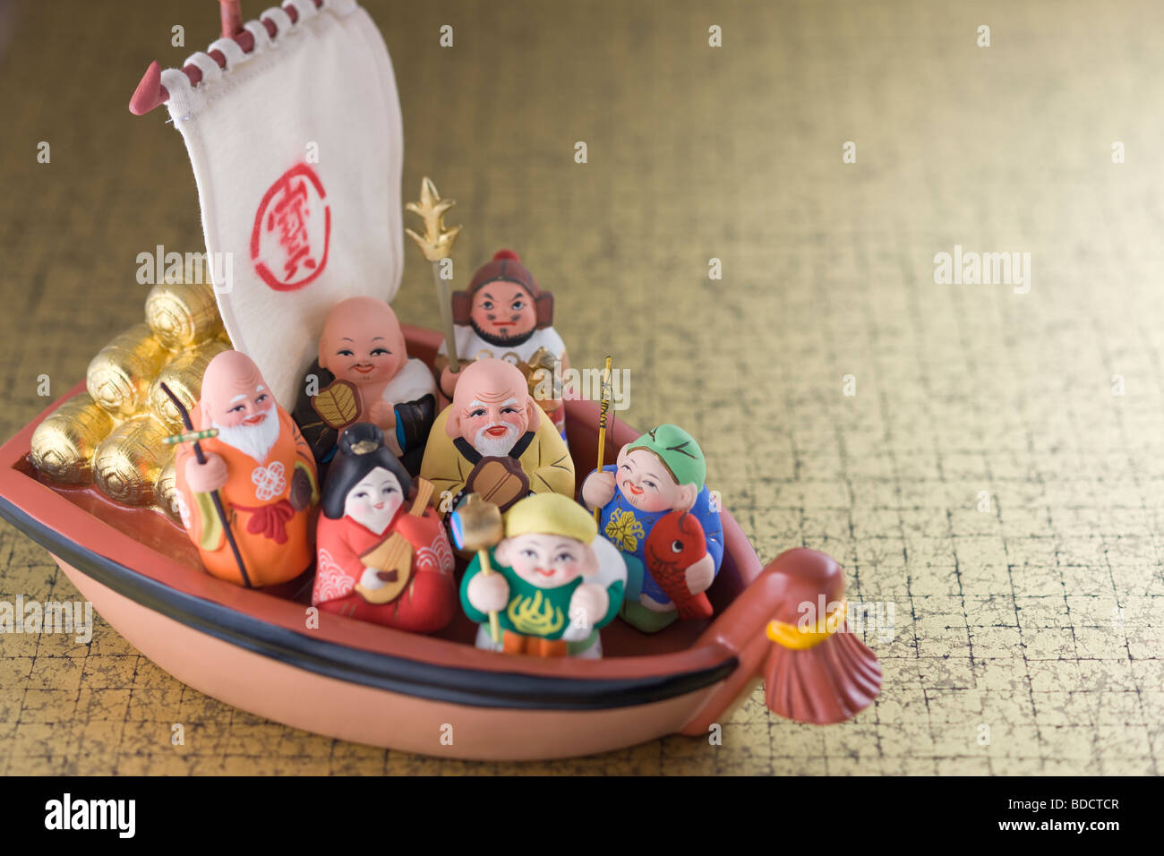 Japanese seven deities of luck - Stock Image