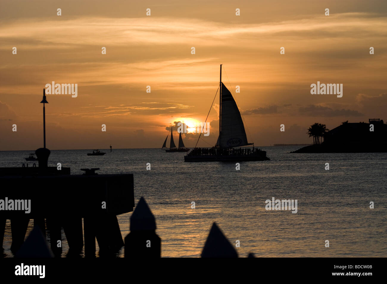 Boats at Key West at sunset Stock Photo