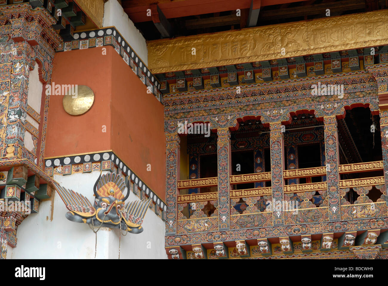 Colorful painting  and woodwork at Gangtey Gompa, the largest Nyingma monastery in Bhutan - Stock Image