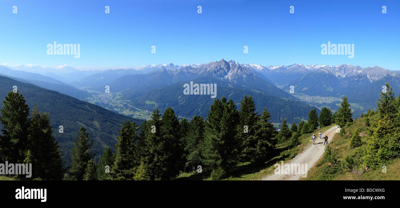 View from Mt. Patscherkofel over the Wipptal and Stubaital valleys, middle: Mt. Serles in the Stubai Alps, Tyrol, - Stock Image