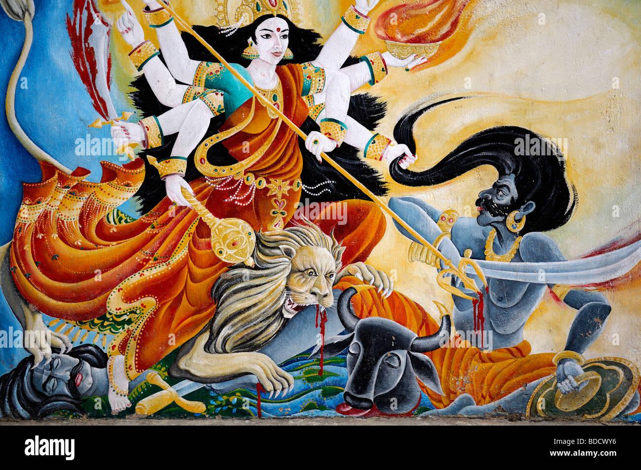 color colourful painting mural depicting shiva as a warrior hindu hindi god deity pashupatinath temple nepal Stock Photo