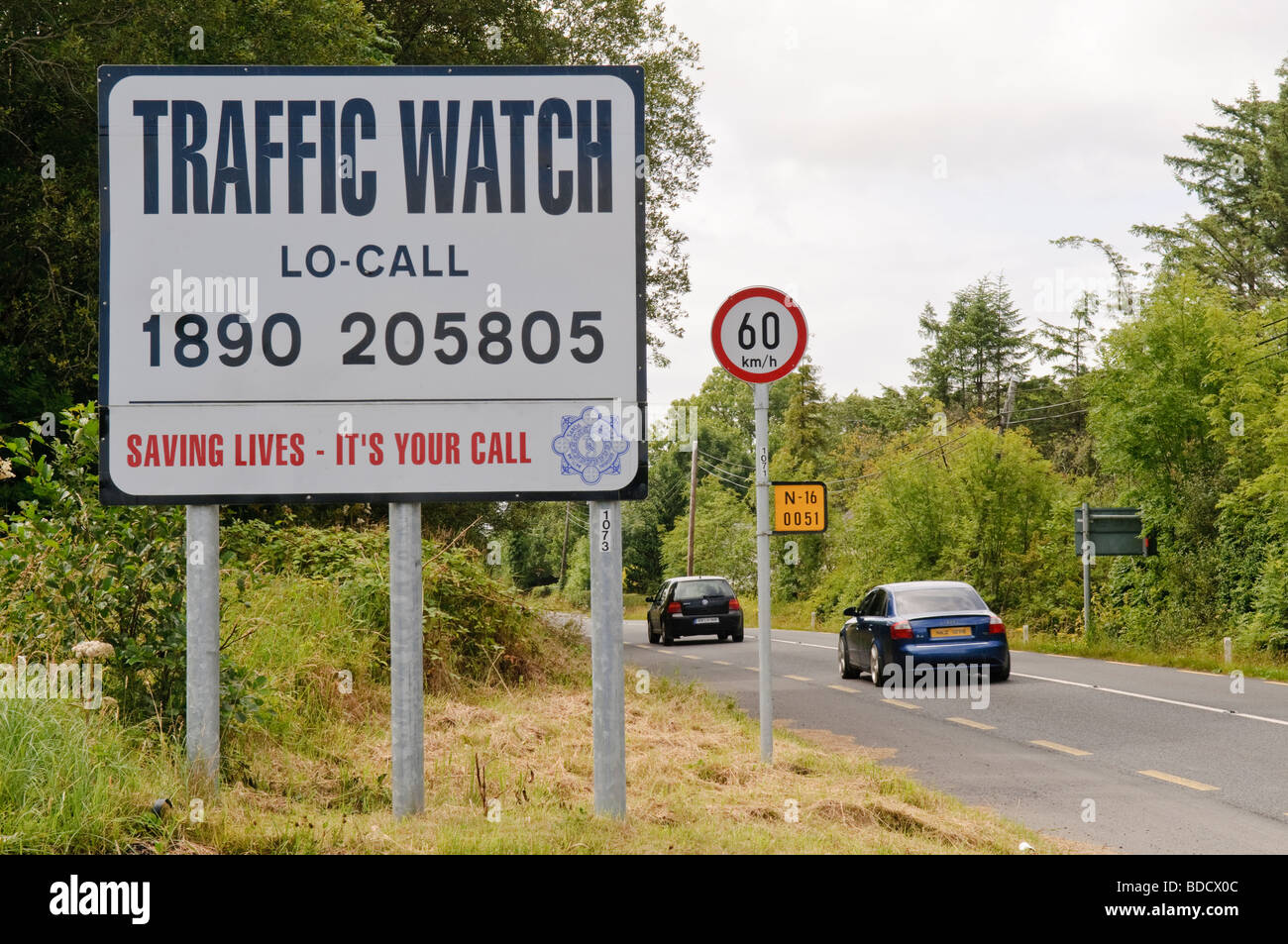 'Traffic Watch' road safety sign in Ireland - Stock Image