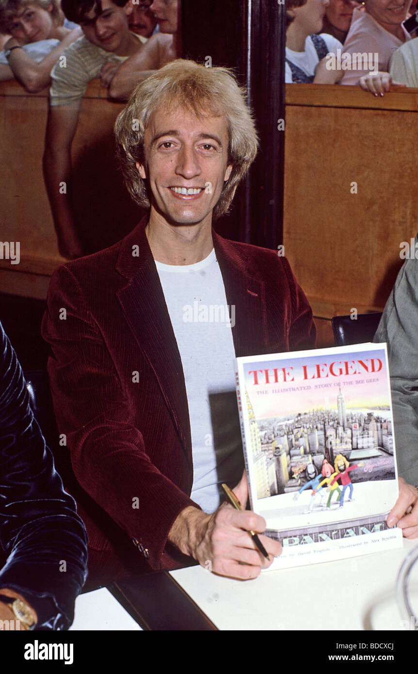 ROBIN GIBB in 1983 at a book signing for 'Legend: The Illustrated Story  of the Bee Gees' - Stock Image