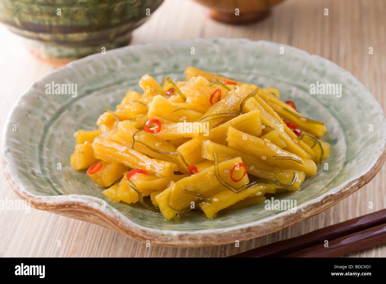 Dried daikon radish pickles - Stock Image
