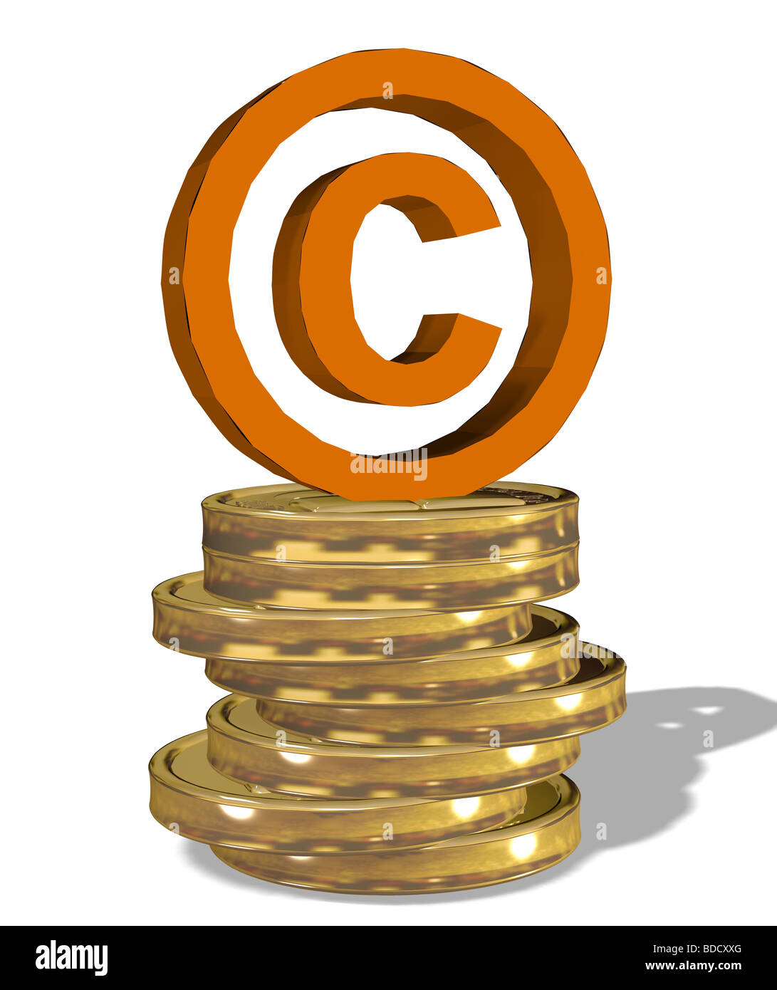 copyright sign on a stack of coins - Stock Image
