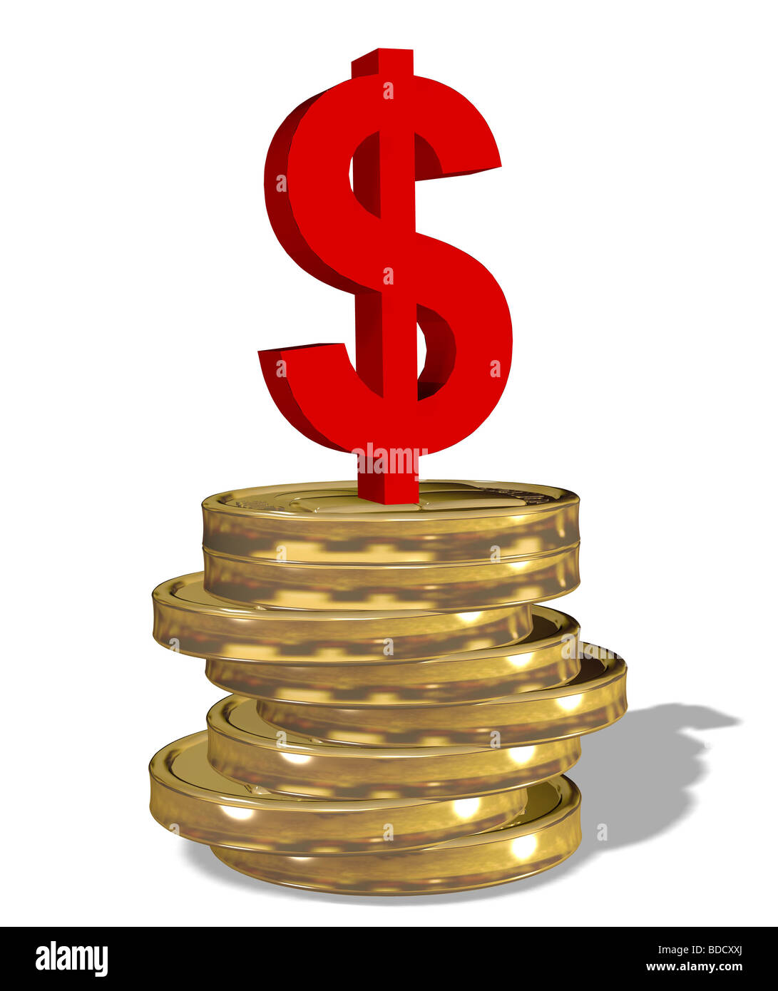 dollar sign on a stack of coins - Stock Image