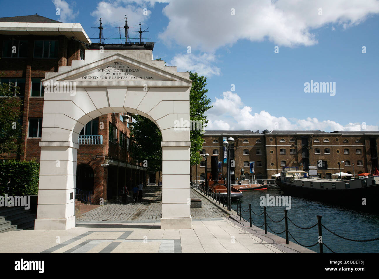 West India Dock Arch in front of the Museum of Docklands in West India Dock North, Canary Wharf, London, UK - Stock Image