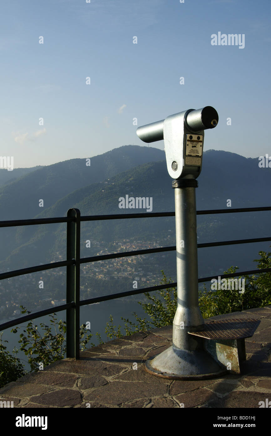 Viewing telescope, above Lake Como, Italy - Stock Image