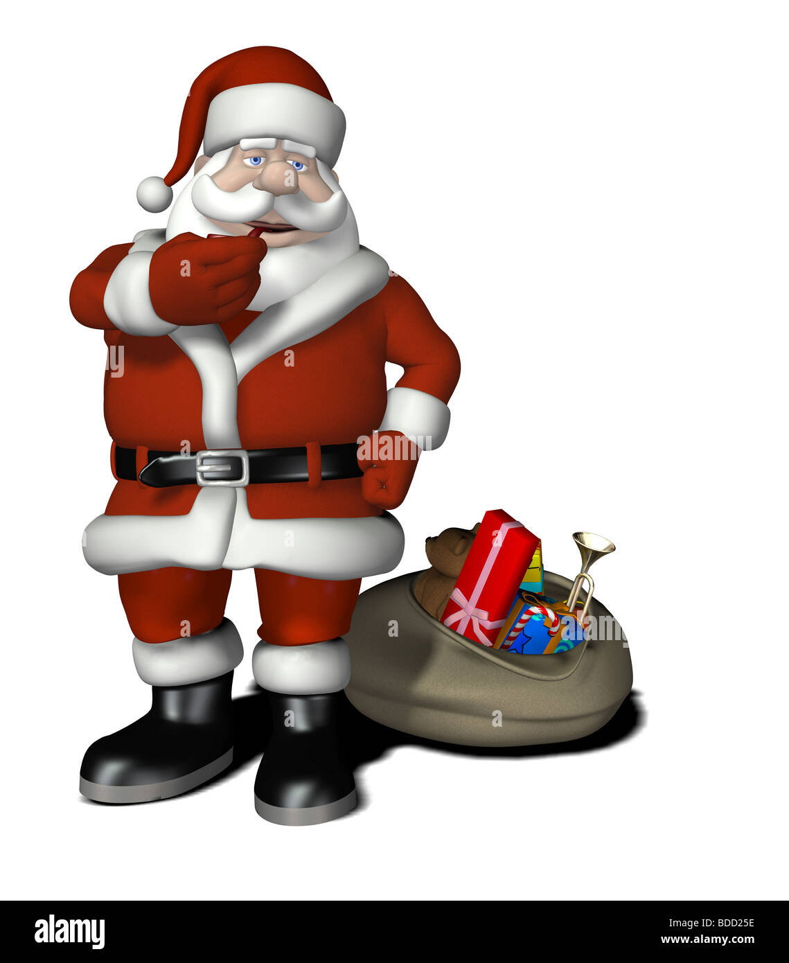 Santa Claus With Gifts And Christmas Tree Cartoon Stock