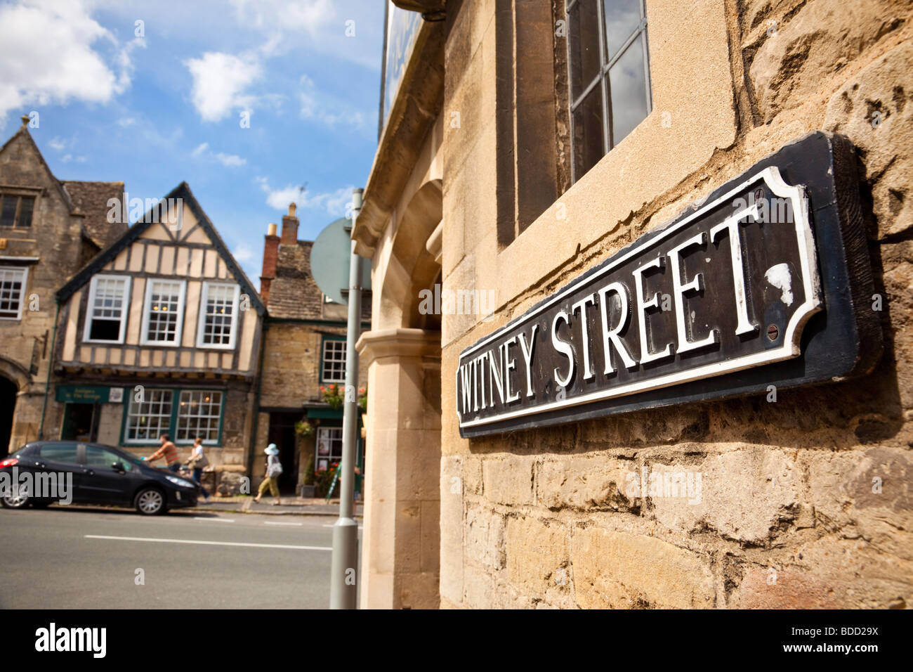 English street name sign close up Burford, Oxfordshire, England, UK - Stock Image